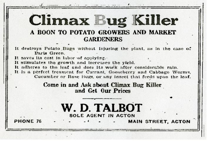 Climax Bug Killer Ad, 1925