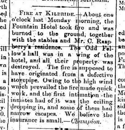 Fountain Hotel Fire Article, 1872