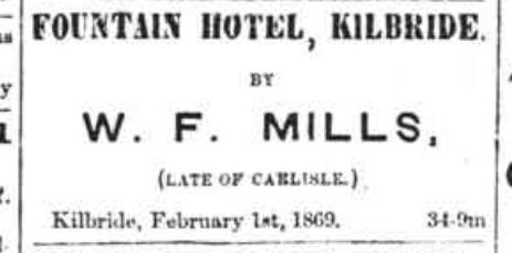 Fountain Hotel Ad, 1869