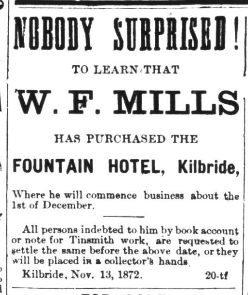 Fountain Hotel Ad, 1872