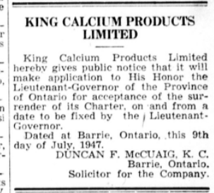 Notice of Surrender of Charter for King Calcium Products Ltd