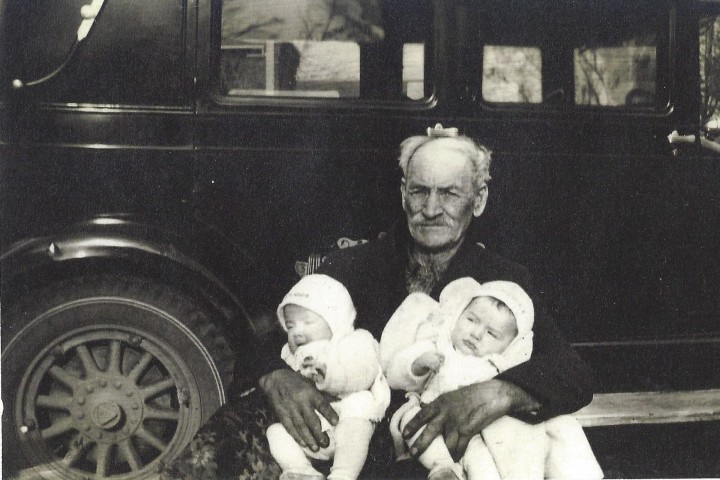 Ebenezer with twin great grandsons Don & John