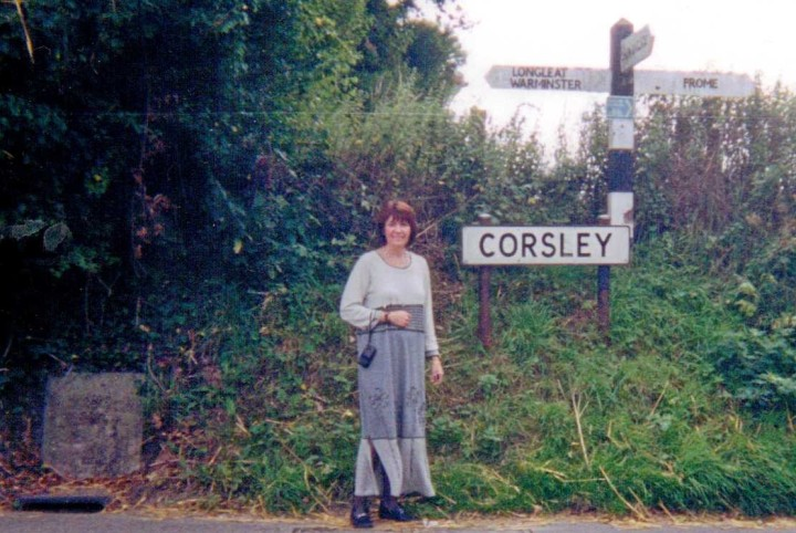 Full Circle: 170 years later, Jennifer, ggg grand-daughter, visits Corsley, the Hunts' old home town.