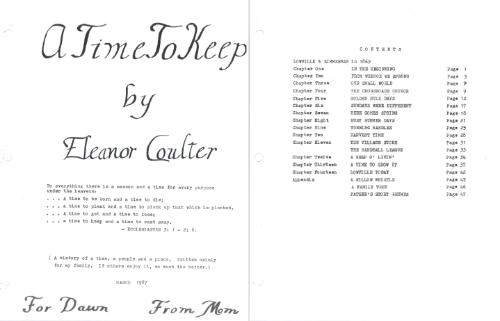 """Title page and table of contents of """"A Time to Keep"""" written by Eleanor Coulter."""